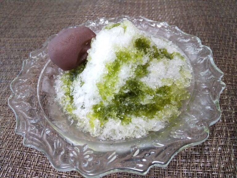 抹茶あんこ餅かき氷